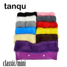 Tanqu plush guarnição para o saco de pelúcia térmica decoração pele de coelho apto para o clássico grande mini obag