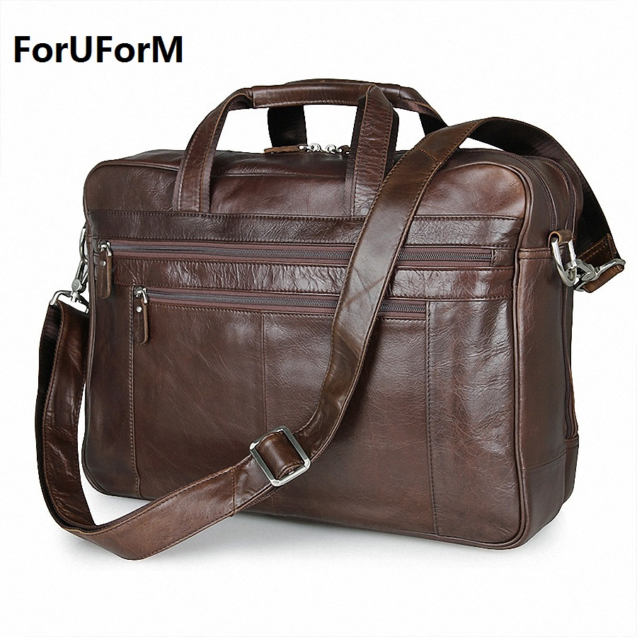 Genuine leather business handbag shoulder bag for men for Housse 17 pouces