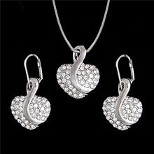 Nigerian Cute Heart Cubic Zirconia Wedding Jewelry Sets inlay Luxury Crystal Bridal Gold Silver Jewelry Set Gifts For Bridesmaid(China)