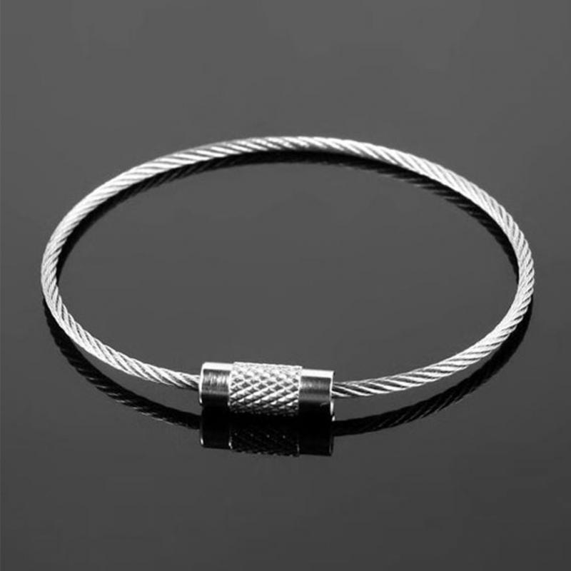 11/15/20cm Stainless Steel Wire Keychain Cable Key Ring Outdoor Hiking Climbing Aloft Tools Chain With Lock