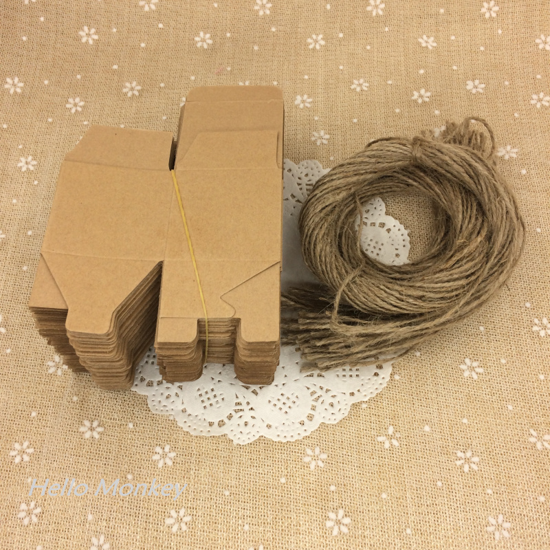 New Arrive 100pcs Natural Kraft Paper Brown Paper Wedding Candy Box with ribbon chocolate boxes rustic wedding centerpieces