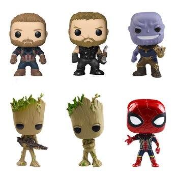 Мстители 3: Бесконечность войны Funko Популярные фигурку танос человек паук Дерево Детские Капитан Америка супер модель героя игрушка в подар...