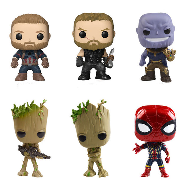 The Avengers 3: Infinity War Funko Popular Action Figure Thanos Spiderman Tree Baby Captain America super hero Model Toy Gift