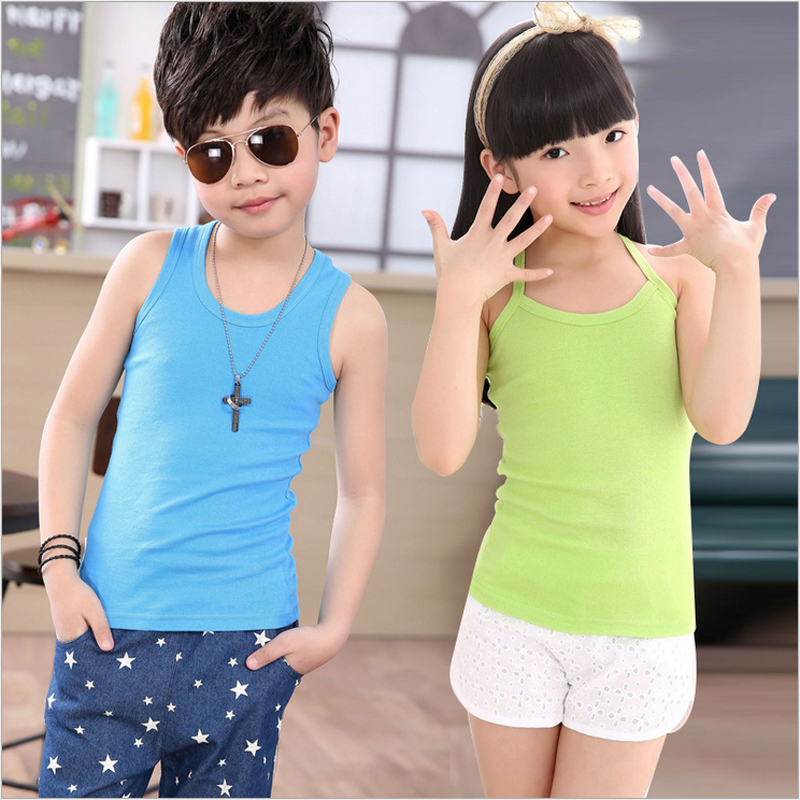 Baby Boys Girls Tanks Tops Solid Candy Color Children Vest Beach Camisoles Kids Underwear 100% Cotton Sleeveless T-shirts