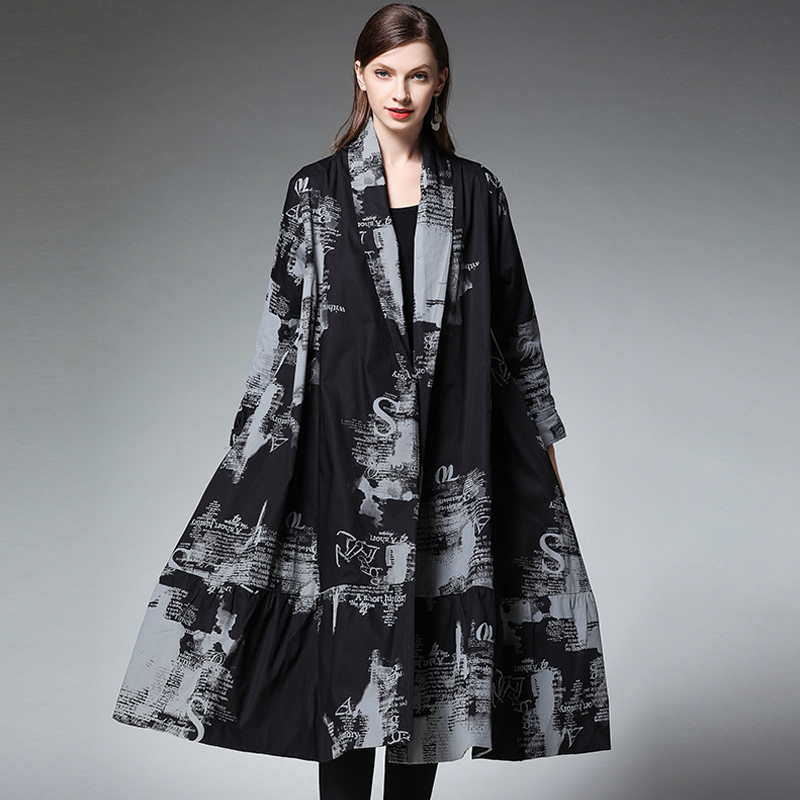 Women   Trench   Coats Cotton Plus Size Black Spring Summer 2019 Woman Outwear Long Coats Casual Fashion Elegant   Trenches   Coat 4XL