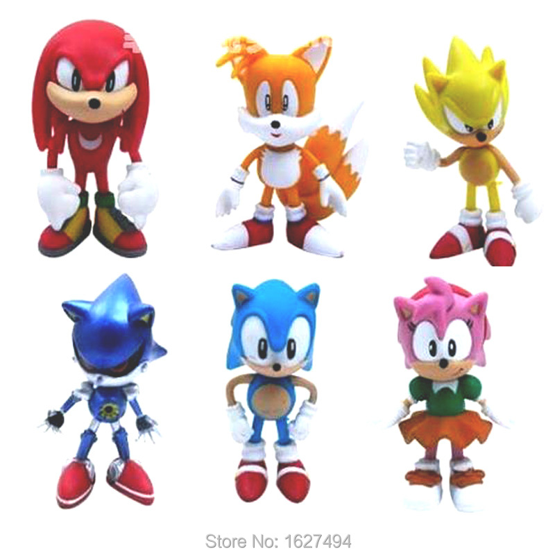 6pcs/set Sonic Tails Shadow the Hedgehog PVC Action Figures Cheap Anime Figures Figurines Collectibles Dolls Kids Toys For Boys