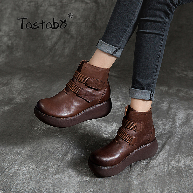 Tastabo Handmade craft boots Black brown plus velvet bare boots Muffin bottom women s boots Comfortable