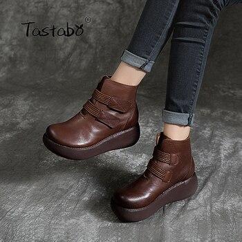 Tastabo Handmade craft boots Black brown plus velvet bare Muffin bottom womens Comfortable lining Retro casual