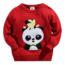 Little Maven New Autumn Spring Children Long- sleeved O-neck Quality Panda Knitted Girls Boys Embroidery Casual Cotton Sweaters(China)