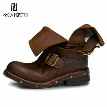 Prova Perfetto Retro Genuine Leather do old Knight Boots Belt Buckle Rivet Low Heel Woman Short Boots Cool Motorcycle Boots - DISCOUNT ITEM  24% OFF All Category
