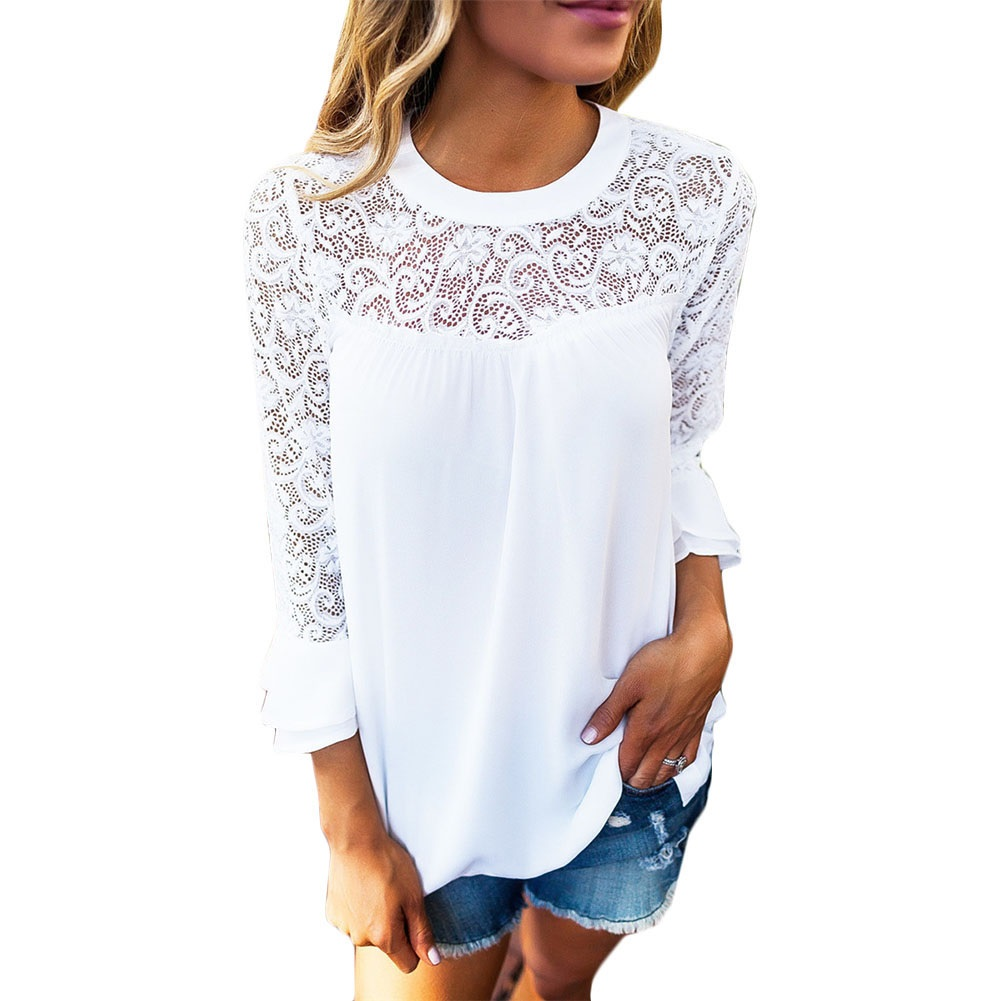 Giraffita Women Blouses Autumn Lace Chiffon Blouse Feminina Tops Fashion Femme Shirts