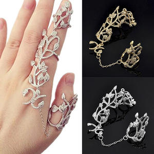 Metal Knuckle Link Slave-Ring Chain Flower Wedding-Jewelry Finger Bride Women Charm Gift