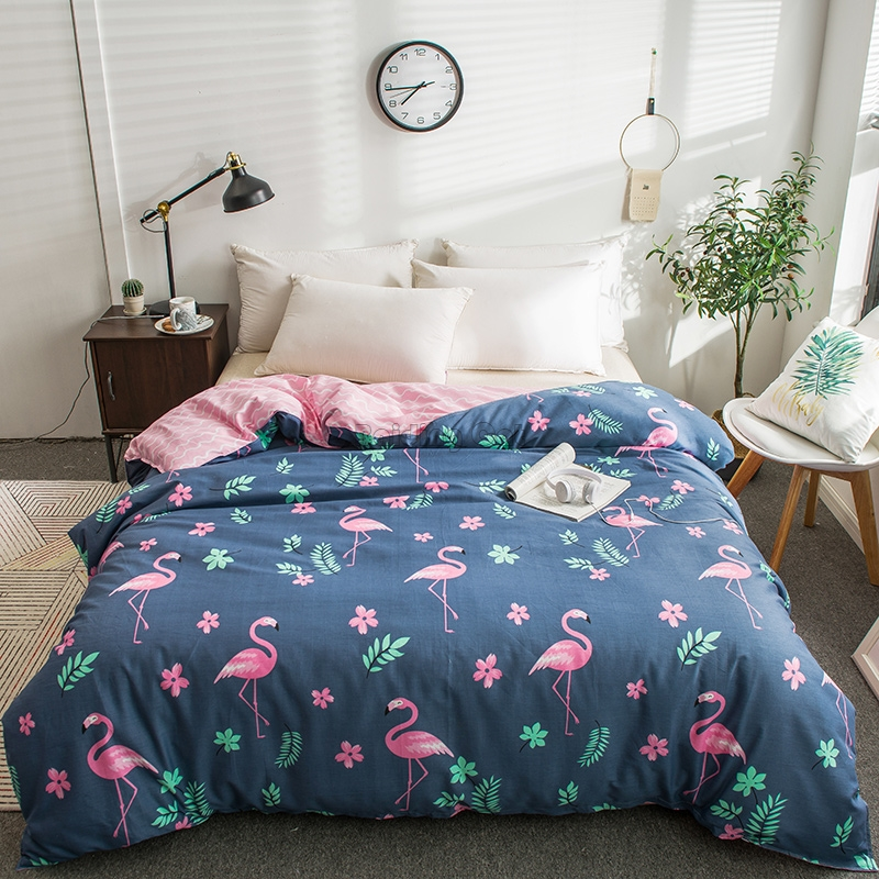 Spring Blue Flamingo Printed Duvet Cover 100%Cotton Quilt Cover 150*200cm,160*210cm,180*220cm,200*230cm,220*240cm For Adult&kids