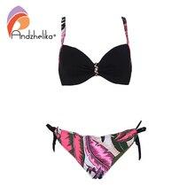 Andzhelika Sexy Bikini kobiety strój kąpielowy zestaw Bikini Push Up wysokiej jakości perła biżuteria 2020 lato Plus rozmiar stroje kąpielowe kostiumy kąpielowe