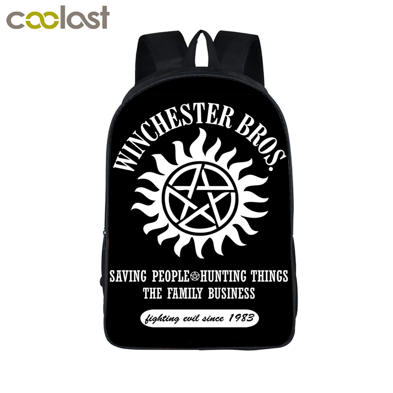 Supernatural Backpack Demon Hunter Winchester Bros Sam Dean Backpack Book Bag Children School Bags For Teenagers Backpacks футболка print bar sam & dean page 7