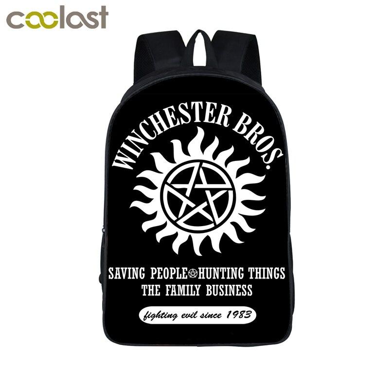 Supernatural rucksack dämon hunter winchester bros sam dean rucksack schultasche kinder schultaschen für jugendliche rucksäcke