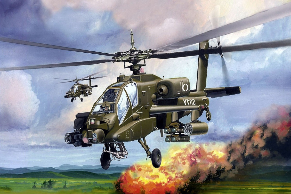 AH-64 APACHE PQX019 custom print canvas fabric poster (frame available) for wall decor room decor home decoration