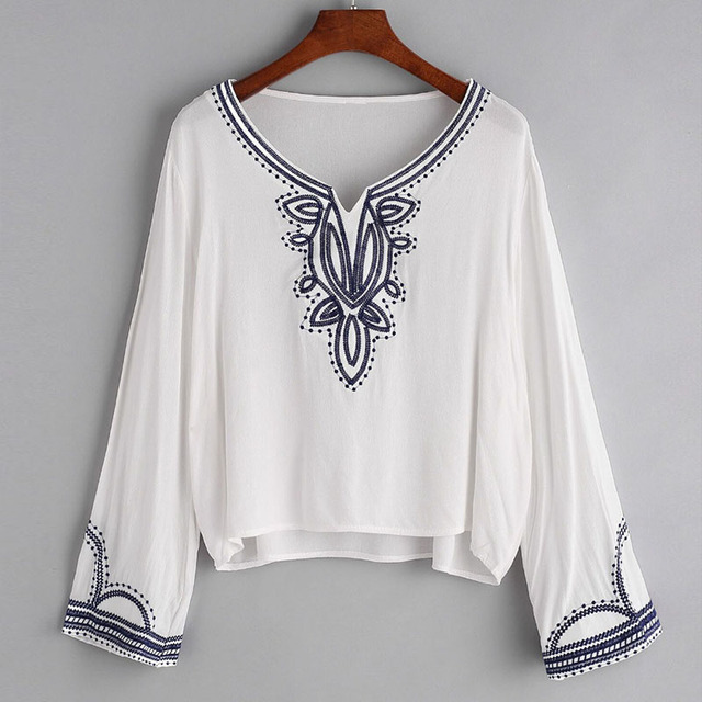 2017 Summer Ladies Boho Tops Elegant White Chiffon Shirts Long ...