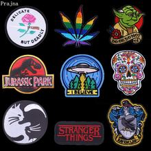 Prajna Patches Star Wars Harry Potter Black Cats Iron On Patch Stranger Skull Motorcycle Rock Badges Unicorn Jeans Appliques(China)