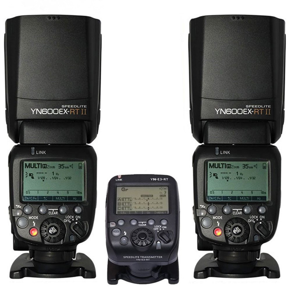 2 x YN600EX-RT II Wireless Flash Speedlite With YN-E3-RT Radio Transmitter For Canon 6d 7d 70d 60d 50d 40d 700d 650d Camera yn e3 rt ttl radio trigger speedlite transmitter as st e3 rt for canon 600ex rt new arrival