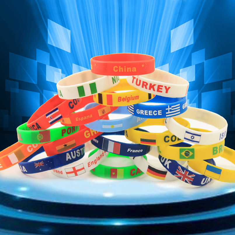 2018 Russia World Cup Football Fans Bracelet National Flag Soccer Fan Accessories Silicone Bracelet Cheerleading Supplies Gifts