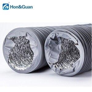Image 4 - Hon & guan 5 m/10 m tubo de escape ventilador flexível de alumínio duto ventilação duto mangueira de ventilação para ventilação doméstica (4 8 8 8 8 8 gray, cinza)