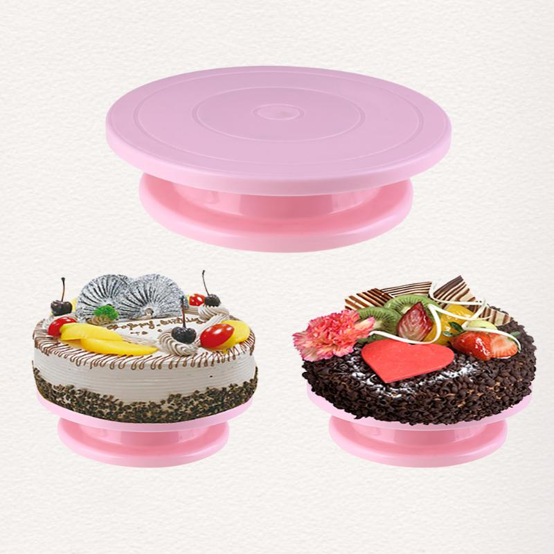28cm Plastic Cake Turntable Rotating Cake Decorating Anti-skid Round Cake Stand Rotary Pan With Improved Package Baking Tool