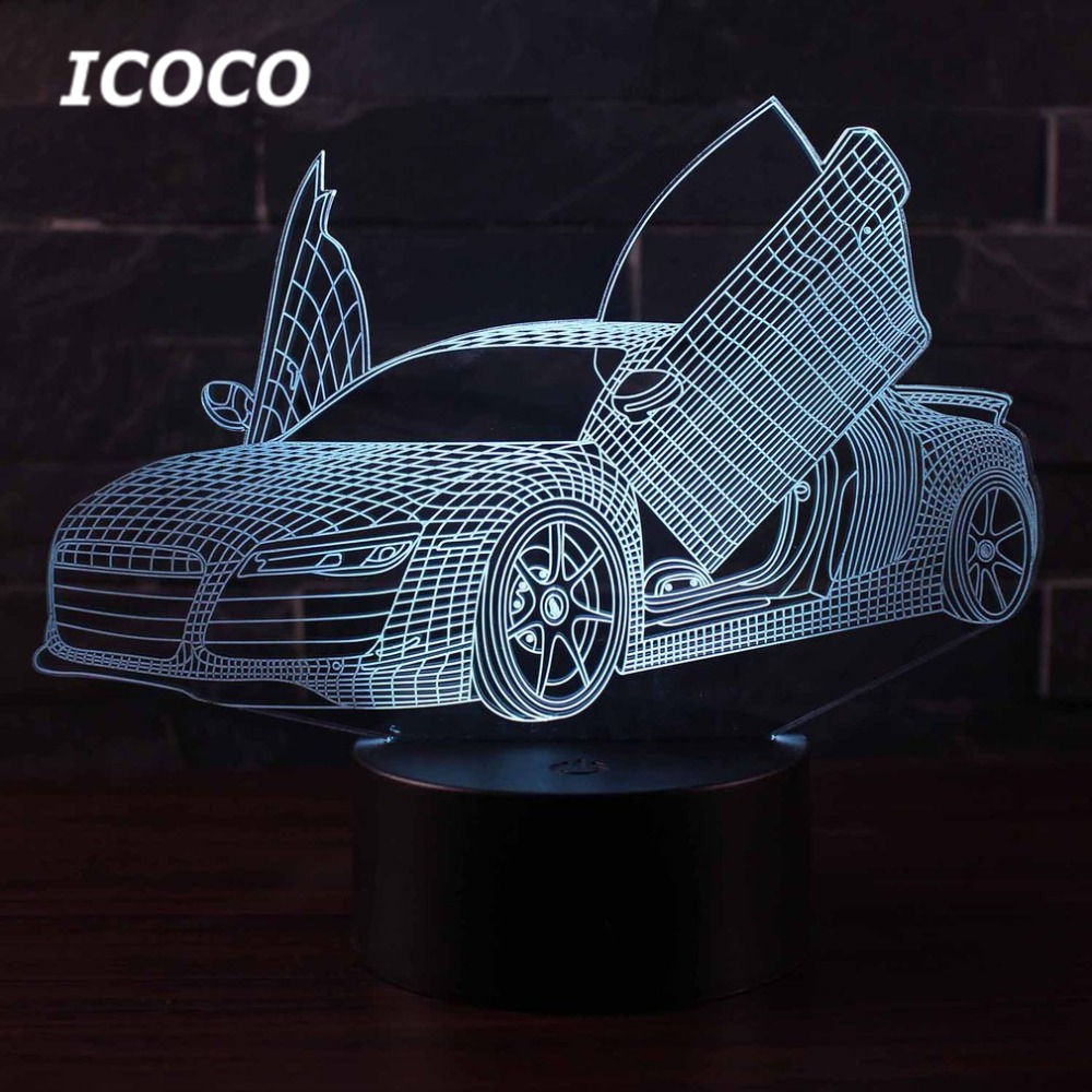 ICOCO Racing <font><b>Car</b></font> Series <font><b>3D</b></font> <font><b>LED</b></font> <font><b>Night</b></font> <font><b>Light</b></font> with 7 Colors <font><b>Light</b></font> for Home Decoration Amazing Illusion <font><b>Night</b></font> <font><b>Light</b></font> Lamp Dropship image