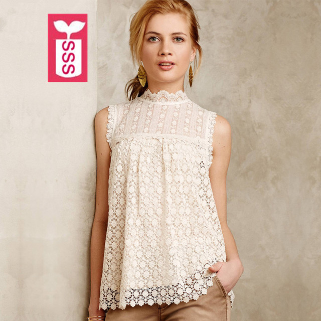 SSS Bohemian Style 2016 High quality Female Sleveless Turtleneck Lace Womens Blouse Hollow out Vest Shirts Summer XXL