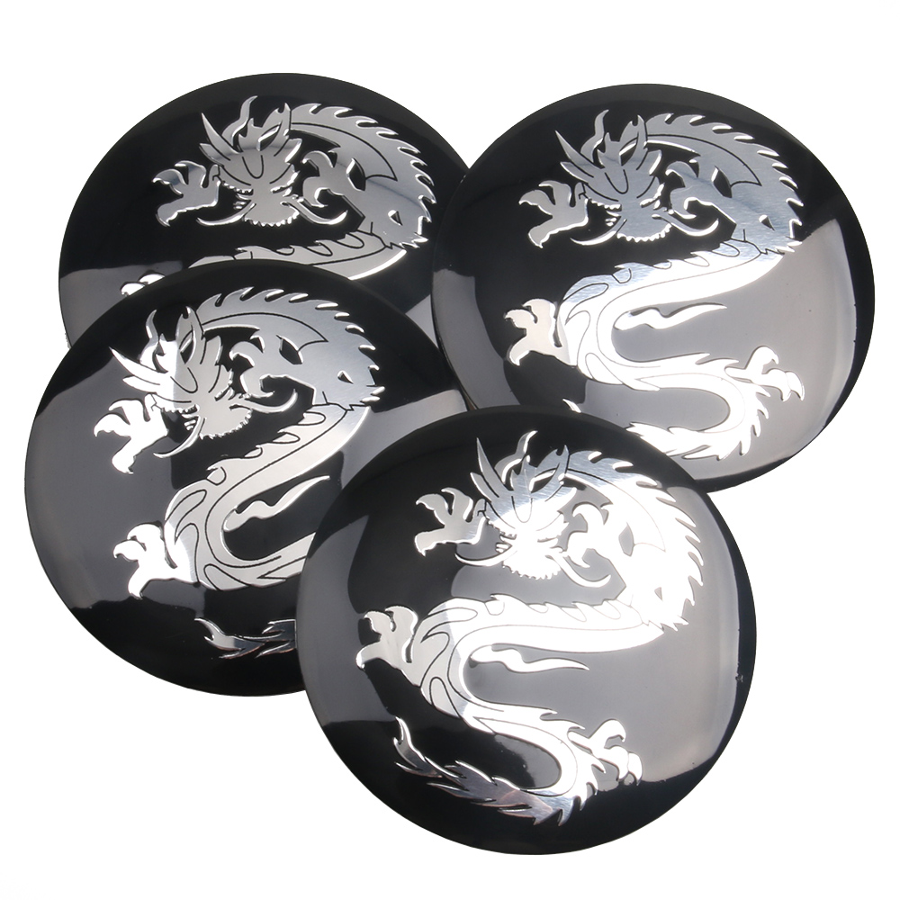 4pcs/ Lot Dragon logo Car Steering tire Wheel Center car <font><b>sticker</b></font> Hub <font><b>Cap</b></font> Emblem Badge Decals Symbol For Honda <font><b>VW</b></font> Audi BMW image