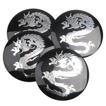 4pcs/ Lot Dragon logo Car Steering tire Wheel Center car sticker Hub Cap Emblem Badge