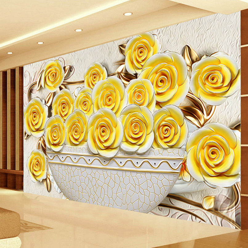 Custom 3D Wallpaper Living Room Sofa TV Background Large Wall Painting Stereo Relief Rose Flower Mural Wallpaper For Walls 3 D