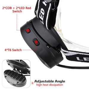 Image 3 - Pocketman Headlight Powerful USB Headlamp 4* T6 +2*COB+2*Red LED Head Lamp Head Flashlight Torch Lanterna with batteries charger