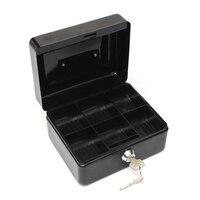 WOFO Edelstahl Petty Cash Money Box Sicherheitsschloss Abschließbare Metal Sicheren Kleinen Fit Für Home 5,9