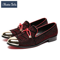 Christia Bella Fashion Men Party Wedding Loafers Red Rhinestones Business Men Dress Shoes Suede Smoking Slippers Flats Plus Size