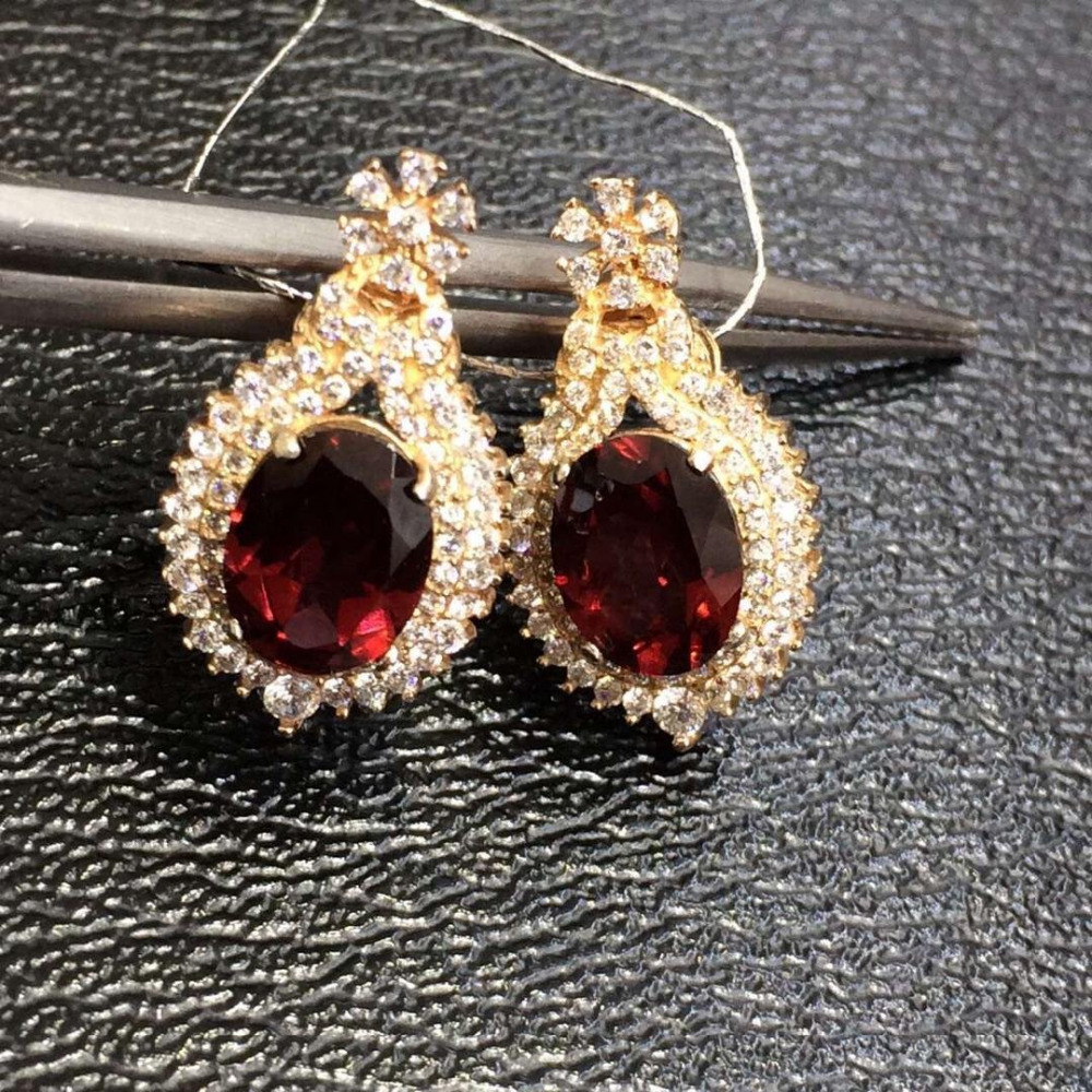 2017 Qi Xuan_Fashion Jewelry_Trendy Styles Dark Red Stone Earrings_S925 Solid Silver Dark Red Earring_Factory Directly Sales 2017 rushed qi xuan red stone bangles