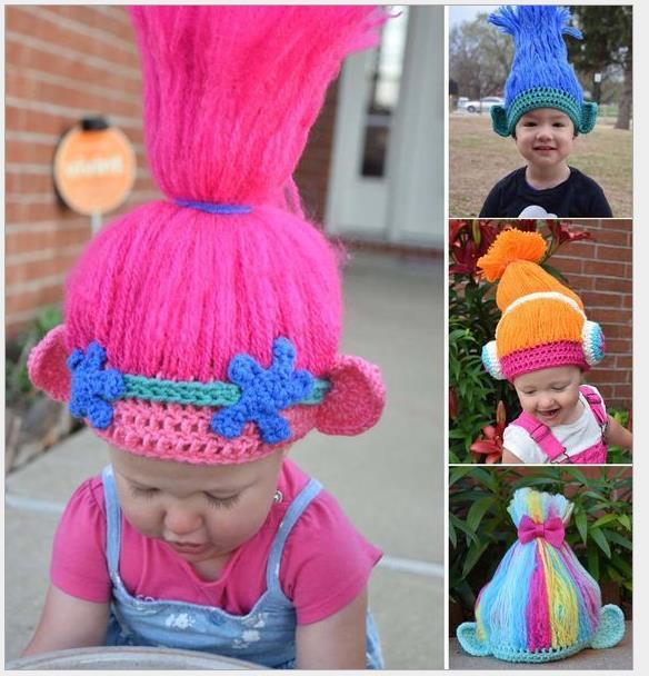 Trolls Cosplay Knitting Hat Kids Handmake Poppy Brand Cosplay Wig Hats Kids  3-6years DHL Free 62b4a7d0e50
