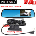 "Car Digital Video Recorder Dual Lens Rearview Mirror Reversing Camera Car DVR 4.3"" Full HD 1080P Parking Camera Radar Detection"