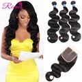 Brazilian Virgin Hair Body Wave With Closure Cheap 3 Bundles Human Hair With Closure Mink 8A Brazilian Virgin Hair With Closure