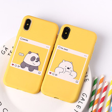 Ottwn Soft Cartoon Phone Cases For iphone 8 7 6 6S 5 5S SE X XS XR Max English Letter Chic Panda Bear Back Case Cover Shells