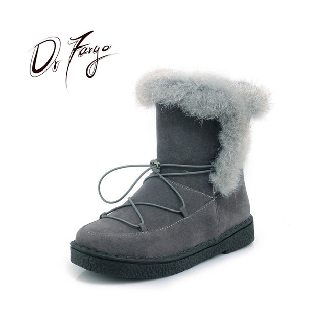 05a2701827ad DRFARGO Fur Top Shoes Women Winter Ankle Boots Slip on Flock Black Round  Toe Winter Warm Snow Boots Platform Shoes size 34-43-45