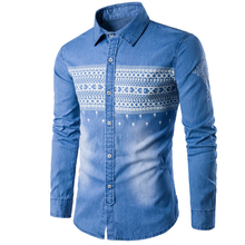 2018 New Brand Mens Denim Shirts Long Sleeve Jeans Shirt High Quality Camisa Masculina Casual Fashion Slim Fit Cotton M-XXXL
