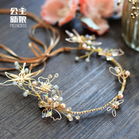 Simple Korean Bride Headdress Handmade Butterfly Hair Band High End Brand Wedding Ring Jewelry Can Be