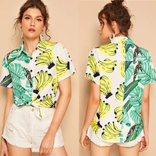ZOGAA 2019 Summer Vacation New Fruit Stitching Shirt Girl Print Short Sleeve Womens Tops and Blouses Casual Cotton Plus Size
