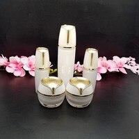 High Quality 15g 30g 50g 30ml 50ml 100ml Pearl White Acrylic Cream Jar Gold Top Empty