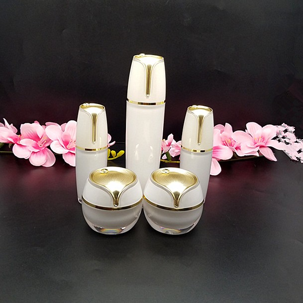 High Quality 15g,30g 50g 30ml 50ml,100ml Pearl White Acrylic Cream Jar Gold Top Empty Cosmetic Container Jar Lotion Pump Bottle