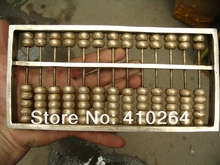 0116P [old craft ] fast shipping 13 number China classic calculator abacus silver Statues (A0321)