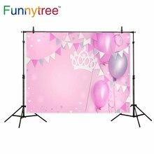 Funnytree fotografia pano de fundo fundo photo studio fotográfico balões cor de rosa coroa corações festa de aniversário decoração