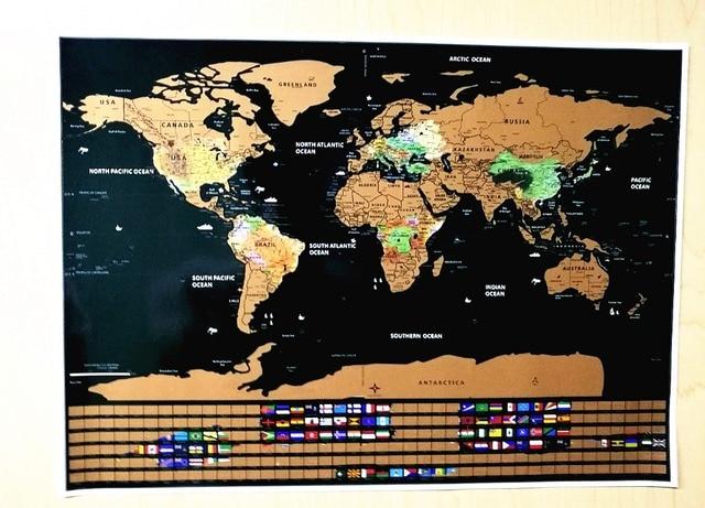 deluxe travel scratch off world map gold ocean retro wall sticker