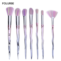 FOLUREE 7pcs Unicorn Makeup Brushes Set Professional Eye Shadow Blending Powder Contour Foundation Blush Cosmetic Beauty